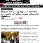 """Madrid: Detienen a peligroso """"terrorista"""" por circular en bici con pancarta contra el régimen http://t.co/ZmmWQoJoSu http://t.co/XGloaKCOkY"""