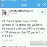 """""""@INECAlert:I dont know where the PDP spokesman got his source but we have not collated results in 23 states""""-Jega http://t.co/fZueTb2xWs"""