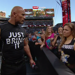 So much of this. @TheRock x @RondaRousey #WrestleMania http://t.co/D4JP14SNlN