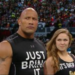 RT @AndyGray35: The Rock and @RondaRousey in the ring at the same time. Kinda nuts. @WrestleMania. http://t.co/ltDo0Id15P