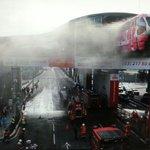 Firemen trying to tackle a blaze Monday morning at Titiwangsa monorail station in Kuala Lumpur. http://t.co/dYE3Vi8KI6