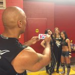 You know its #WrestleMania when @TheRock takes a picture of @RondaRousey @WWEAJLee and @RealPaigeWWE backstage! http://t.co/fHa45Is0qJ