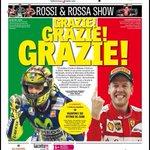 Portada muy patriótica de la Gazzetta. Rossi e la rossa. http://t.co/MDNYvMUFxp
