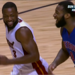 Heres D Wade and Dre Drummond having a good laugh after Drummond blocked a shot by Wade ... but it went in. http://t.co/svmsKPy1vB