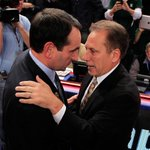 Mike Kryzyzewski is 8-1 all-time vs Tom Izzo, 2-1 in NCAA Tournament. Duke meets Michigan State in the Final Four. http://t.co/4UbXE24A8h