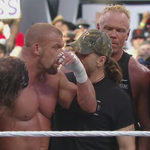 Is there finally peace between @WWEs #DX and #WCWs #NWO?  #Handshake #StingVsHHH @Sting @TripleH http://t.co/34qq2VPw7W