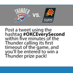 Tonights #OKCEverySecond contest = First Thunder timeout. Watch the game, tweet, win a Thunder prize pack! http://t.co/UlVCtawmsL