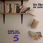 Cada vez que pones Telecinco... Un libro se suicida. #BoicotAnunciantesMediaset http://t.co/H3jdhTZu8r