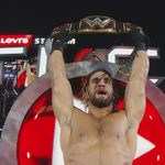 SETH ROLLINS pins @WWERomanReigns!! ROLLINS IS THE NEW WORLD HVT. CHAMPION!! #WrestleMania http://t.co/EwTvupkXav