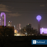 Tonights #purple skyline is for you, #Dallas! Our community supported us on the journey to the #newParkland http://t.co/INlFngNUna