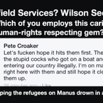 Please RT @TransfieldServices @Wilsonsecurity Who employs this charmer? #humanrights abuses #Manus #Nauru #auspol http://t.co/H2lrslKDBL