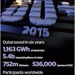 #Dubai saved 305 megawatt hours electricity & 183 tonnes carbon emissions during #EarthHour http://t.co/bAxiBV57e2 http://t.co/KpBTFopoWa