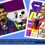 Hearty congratulations to @NSaina & #KidambiSrikanth on winning the @MetLife BWF Super Series India Open! http://t.co/qFQyrYBJFP