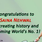 Congratulating @NSaina for creating history & becoming Worlds No.1! We are extremely proud of you! #womanpower http://t.co/492MxYSJsG