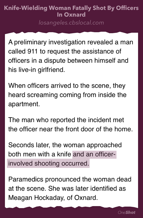 "Weird use of the passive voice. Think you mean ""and the officer shot her."" #meaganhockaday http://t.co/Z8RggieOur http://t.co/XwpYwebS0j"