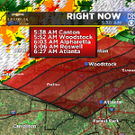 Updated storm arrival timeline for areas north of #Atlanta. Lots of lightning, wind gusts and small hail possible http://t.co/rdnhhIwYJ1
