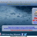 Warmer today but rain is possible in the afternoon. Rain changing to snow tonight. #wiwx http://t.co/w3WAWiw0cj