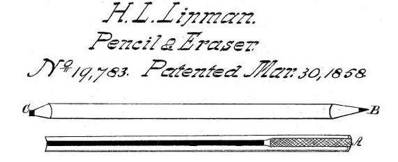 Today in #History: Hymen Lipman registered the first #patent for a pencil with an attached eraser in 1858. http://t.co/YoTUyJaSae