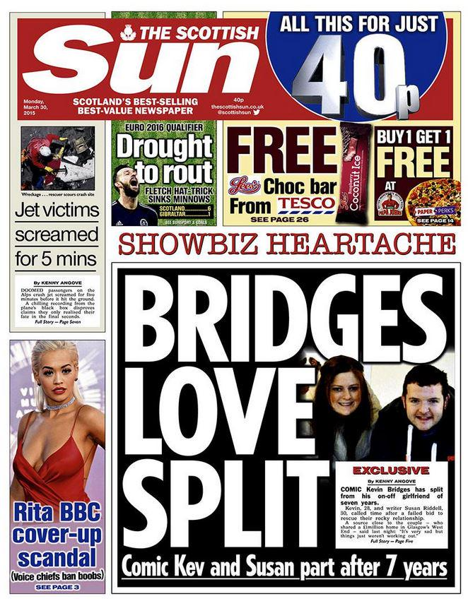 from today u0026 39 s front page  comic kevin bridges has split