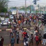 Live now in Enugu protest over election result, military throwing teargas at the protesters http://t.co/tNQB76BgQs