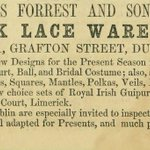 Old ad, Forrest & Son, Limerick Lace warehouse, Grafton St. Dublin #LoveDublin #LoveLimerick #Ireland http://t.co/Jr6P9IPF0S