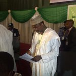 Prof. Jega exiting the hall to reconvene at 8pm #Nigeriadecides http://t.co/1n3H0CqKRk