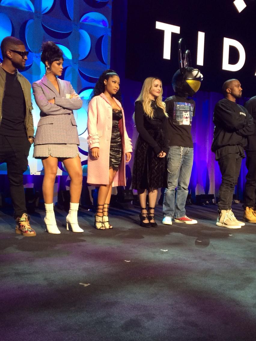 Tidal line up. usher, rihanna, nicki,madonna, deadmau5, Kanye... http://t.co/85PunQK5lD