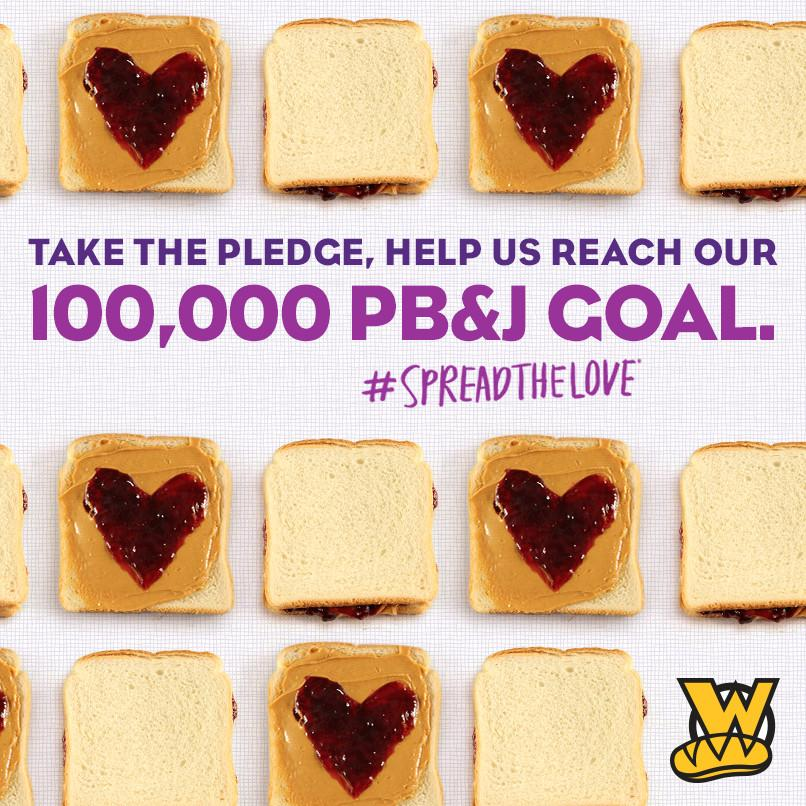 Need another reason to love PB&J? Buy 1, we'll give 2 away. Take the pledge: http://t.co/rk88vOZNuk #SpreadTheLove http://t.co/NoggKW15ci