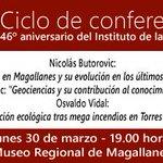 A las 19 hrs, en Museo Regional, Ciclo de conferencias aniversario Instituto de la Patagonia. #puq #UMAG http://t.co/IKlNUlBk6D