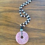 Rhodonite stone Necklace. Free Shipping in USA. by JabberDuck http://t.co/E3nsghPQh7 http://t.co/n3ptyPqMFv