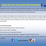 "#Sarasota #Police investigating 2 ""distraction burglaries."" RT & share safety tips! Info @ http://t.co/8LiXn9FKLA http://t.co/GvwZx370qb"