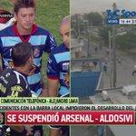 """""""Duele que en mi club pase esto"""", Alejandro Limia desde el campo de juego tras la suspensión de Arsenal-Aldosivi. http://t.co/nWzciVBzNM"""