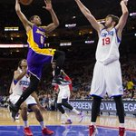 Lakers beat 76ers in OT, 113-111. Clarkson (26 pts, 11 ast) earns 1st double-double & hits game-winner. http://t.co/fZj814Gh1l