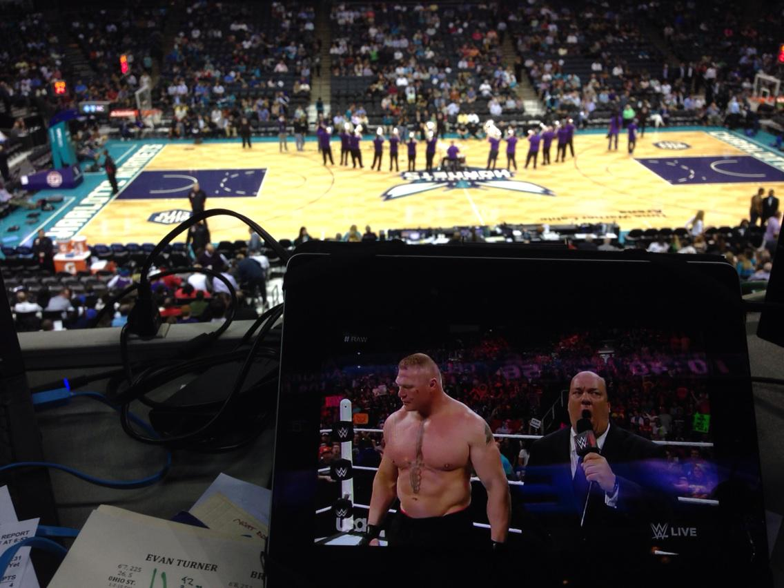 Don't need the IPad...we can hear @HeymanHustle all the way in Charlotte.   #SuplexCityQueenCity
