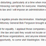 WA Gov Jay Inslee statement on travel ban to Indiana: http://t.co/TYsEgeJOuA http://t.co/lRSzjtsoYN