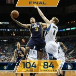 Final. Jazz win 104-84 in Minneapolis behind 19 from @TreyBurke off the bench!. #UTAatMIN http://t.co/xC2opuDeuB
