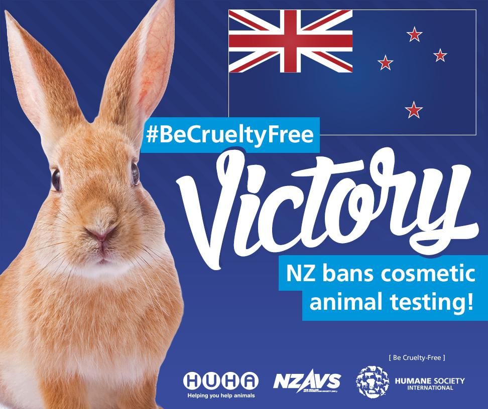 BREAKING: #BeCrueltyFree victory! New Zealand has voted to ban cosmetics animal testing. RT to say THANK YOU to NZ! http://t.co/HTjhCBnxsL