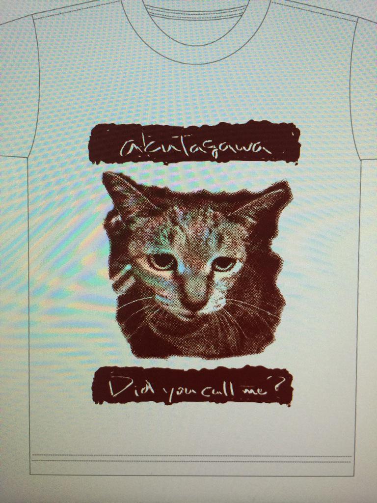 akutagawaのTシャツのデザインお手伝いしました〜。うちの猫です(笑) http://t.co/70vnxyj6pM
