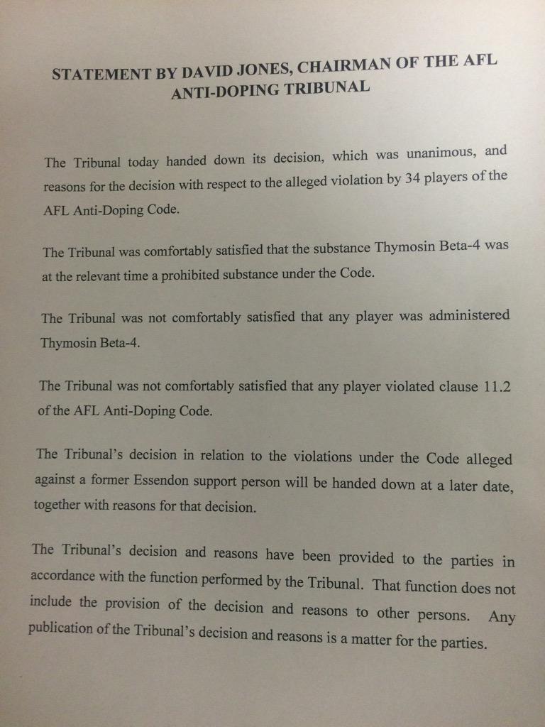 Statement in full from AFL Anti-Doping Tribunal Chairman David Jones: http://t.co/gktjEXQtPc