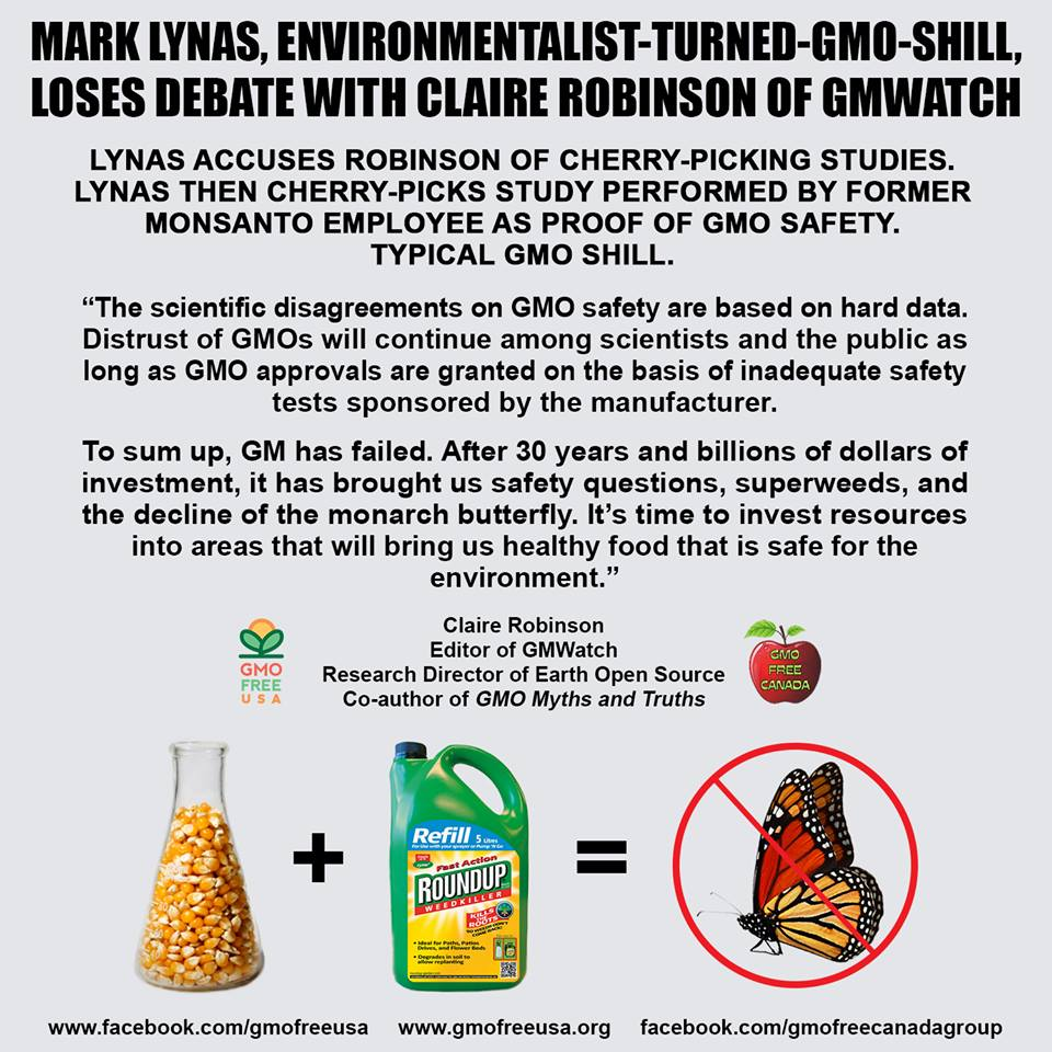 Thanks GMO-Free USA for graphic on Robinson-Lynas debate on #GMO http://t.co/6QFRpL0WPI