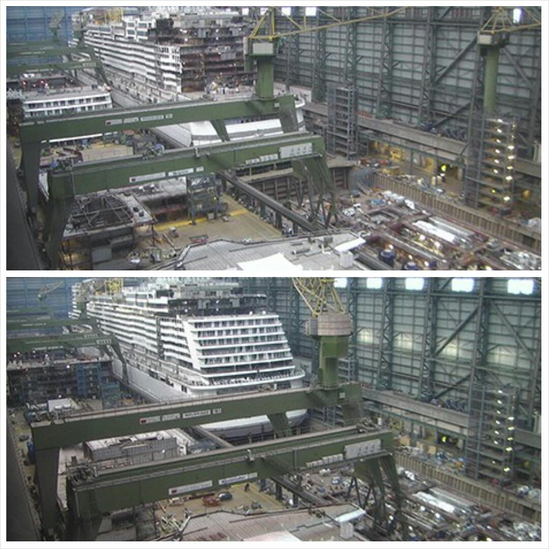 TV's @CruiseGuy has: Latest pics @CruiseNorwegian #NorwegianEscape. Amazing 1 week difference. Rear of #cruise ship. http://t.co/Almg57bd3q