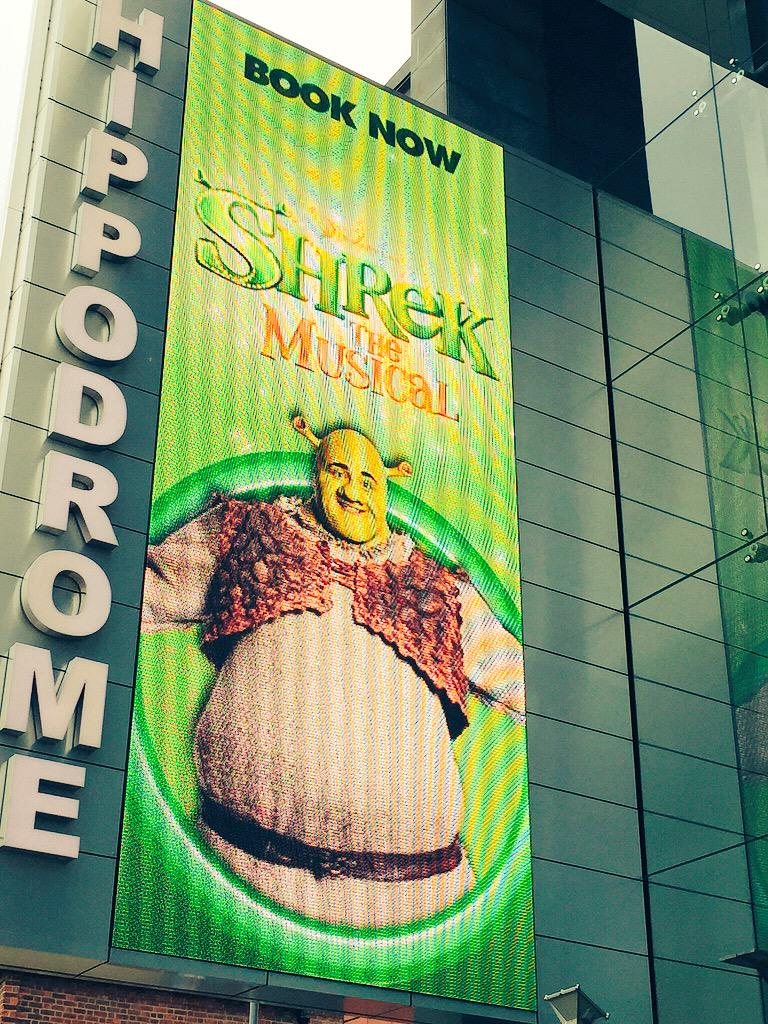 It's opening night at the @brumhippodrome and Shrek is on the big screen outside! #BHshrek http://t.co/DK8FPdMt4J