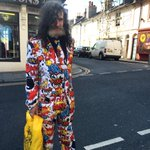 This is the funkiest suit we have seen in Brighton! There is a blue sequin jacket in the bag! #brightonfashionweek http://t.co/14ls278LiP