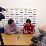 Loan signing, Sam Ricketts, meets the local media for the first time this morning #STFC http://t.co/flpRpe7PzC