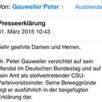 Peter Gauweiler verzichtet auf sein Bundestagsmandat: #Bundestag http://t.co/To9uJcs8y5