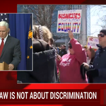 "Indiana Gov. Mike Pence: ""Religious freedom"" law doesnt give anyone the right to discriminate http://t.co/MjnYJBO5SX http://t.co/fdqpPNblBN"
