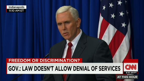 """Pence: Indiana #RFRA didn't give license to discriminate, but that's become perception, """"and we need to confront it."""" http://t.co/FiHnS2x3oY"""