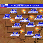 Heres a look at the forecast across Region 8 Today. Isolated shower/storm possible, but most dry. #arwx #mowx http://t.co/Ea6jQ6FT47