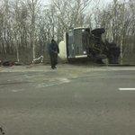 На М4 фура перевернулась под Новочеркасском и создала пробку в сторону Ростова #Ростов http://t.co/ulJij9FcSF