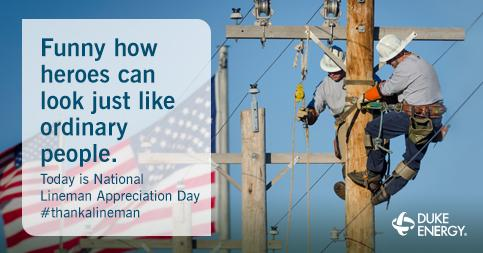 Happy National Lineman Appreciation Day! If you see a line worker today, thank them for their service. #ThankALineman http://t.co/lv1U1y0PoN